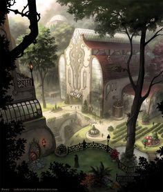 The amazing art of Roseum Fantasy City, Fantasy Castle, Fantasy Places, High Fantasy, Fantasy World, Fantasy Art Landscapes, Fantasy Landscape, Fantasy Artwork, Landscape Art