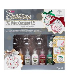 Everything you need for a DIY Christmas tree ornament! | Tulip® DIY 3D Paint Ornament Kit