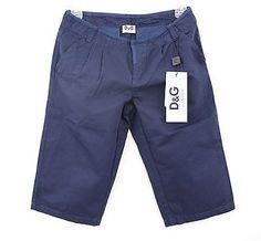 D&G JUNIOR Boys Slit Pocket Shorts, Navy, Designer Apparel
