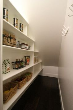 Dinning room space under stairs/pantry storage Closet Under Stairs, Space Under Stairs, Basement Stairs, Under Stairs Pantry Ideas, Open Basement, Under Stairs Cupboard Storage, Basement Ideas, Office Under Stairs, Shelves Under Stairs
