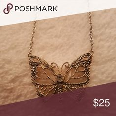 Sterling Silver marquisite butterfly necklace Stamped 925, 18 inch chain, all SS Jewelry Necklaces