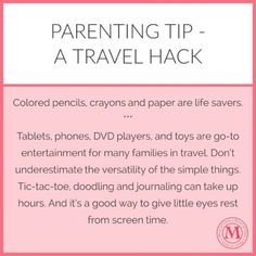 How to fly and/or travel with kids - tip for keeping them entertained on planes, road trips, trains and more. Old school entertainment is a great break for eyes getting too much screen time.