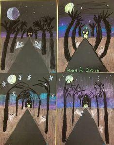 Halloween Art Projects, Halloween Arts And Crafts, Fall Art Projects, Halloween Activities, Art Plastique Halloween, 2nd Grade Art, Grade 1, Perspective Art, Art Lessons Elementary