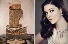 The Great Gatsby Wedding Cake is stunning along with the old hollywood styled hair