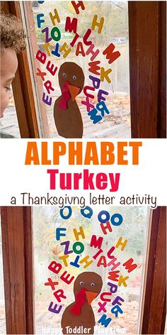 Alphabet Turkey Activity - HAPPY TODDLER PLAYTIME Giant Turkey Craft is a super fun art activity perfect for little and big kids this Thanksgiving! Paint giant turkey feathers with your feet! Toddler Preschool, Preschool Crafts, Toddler Activities, Thanksgiving Activities For Kids, Thanksgiving Crafts, Alphabet Activities, Preschool Activities, Preschool Learning, Educational Activities
