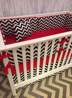 Crib Set Nursery Bedding Crib Bedding set mini crib cot set - Red and Black Chevron on Etsy, $245.00