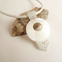 Macrame Necklace Kumihimo Necklace Mother of Pearl by neferknots