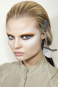 Holy Toledo Batman! Prada's intense Fall 2012 eye's and no brow. I want a client to want this sooo bad.