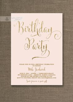 Blush Pink & Gold Birthday Invitation Gold Glitter Pastel Pink Script Modern Milestone Shabby Chic Printable Digital or Printed - Mila Pink Gold Birthday, Champagne Birthday, Late Birthday, Golden Birthday, Adult Birthday Party, 30th Birthday Parties, Birthday Stuff, High Tea Invitations, Gold Invitations