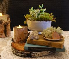 Vintage Table Decor, Moss Love and old books.  Wedding