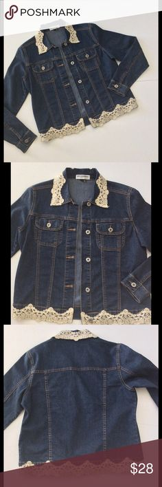 "Listing Lace Trim Denim Jacket Super cute and chic - this is no ordinary denim jacket. Ivory lace with gold threading adorns the collar and hem. Button closure. Breast pockets. Cotton and Lycra blend. 19"" bust 21"" length shoulder to hem. Excellent condition  Bundle discount  ⭐️5 star rated Suggested User Smoke free home I don't trade  Thank you for shopping with me. Please feel free to ask questions Jackets & Coats Jean Jackets"