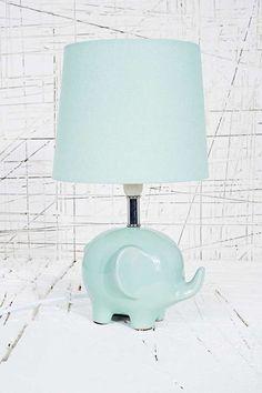 Elephant Lamp in a mint green