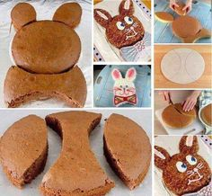 Make A Bunny Shaped Cake (Tutorial) Easter Bunny Cake Pattern – This is an Easter tradition that my mom started when I was a child. Easter Bunny Cake, Easter Treats, Bunny Cakes, Food Cakes, Cupcake Cakes, Cupcakes, Bolo Mickey, Rabbit Cake, Rabbit Food