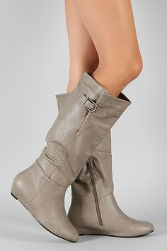 Cassidy-06 Buckle Knee High Wedge Boot $28.20