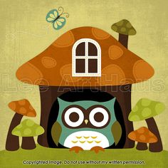 31R Retro Owl in Mushroom House 6x6 Print by leearthaus on Etsy, $15.00