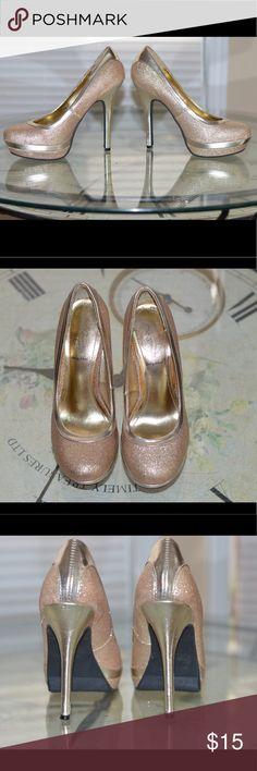 Baby Phat heels- 5.5 Gently worn baby phat gold sparky heels- 5.5 Baby Phat Shoes Heels