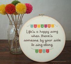 Life's a Happy Song Custom Wedding cross by notsomodernmillie, $50.00