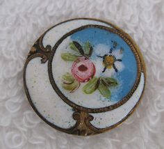 Antique Enameled Button Crescent Moon and Rose