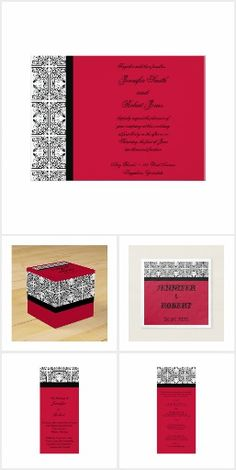 Vintage damask in black and white decorates this elegant modern wedding invitation with scarlet red background design giving your wedding invitations a touch of class. Damask Wedding, Red Wedding, Wedding Suits, Elegant Modern Wedding, Modern Wedding Invitations, Invitation Set, Red Background, Scarlet, Reception