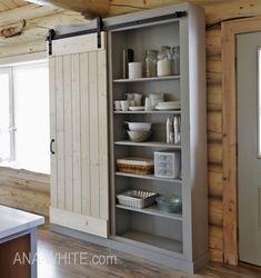 Barn Door Cabinet or Pantry Barn Door Cabinet, Cabinet Plans, Bookcase Plans, Bookshelves, Urban Farmhouse, Ana White, Wood Working, Bathroom Medicine Cabinet, Closets