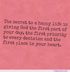 Secret to a Happy Life religious #Quote