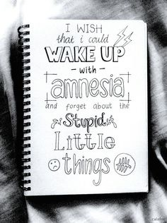 I wish that I could wake up with amnesia, and forgot about the stupid little things - Derek