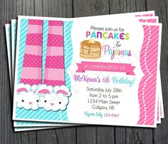 Pancakes and pajamas birthday party invitation printable party pancakes and pajamas invitation pancakes and pajamas birthday girls pancake party invitation pancake invitation sleepover invtation filmwisefo