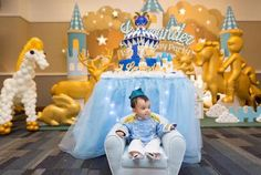 Little Prince sitting on his Royal Throne from a Royal Prince 1st Birthday Party via Kara's Party Ideas | KarasPartyIdeas.com (9)