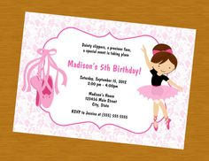 Printable Ballet Dance Birthday Party Event Invitation Digital File Dance Party Birthday, 5th Birthday, Birthday Ideas, Birthday Cards, Birthday Parties, Kc Ballet, Ballet Dance, Sunshine Birthday, Ballerina Party