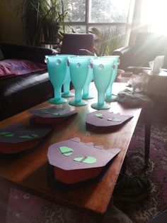 Dragon-themed birthday party, with hand-made Toothless invites and viking goblets made using a hot-glue gun.