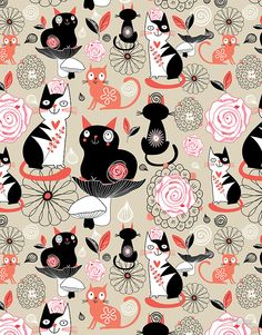 """Floral pattern with cats"" by Tanor 