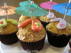 Beach themed cupcakes!!!