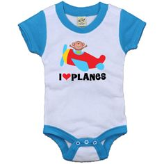 Airplane and monkey baby t-shirt with I Love Planes quote is so cute for a future pilot.  www.homewiseshopperkids.com