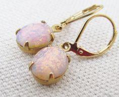 Gold Opal Earrings Vintage Opal Jewelry Gold Fire Opal Earrings Dangling Lever back Pink Opal Earrings October Birthstone Jewelry #Etsy #Share #AyuJewelryShare #EtsyShop #MSMTeam