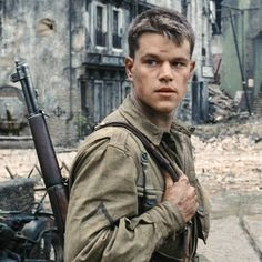 Like and Follow! Saving Private Ryan starring Matt Damon.  Robin Williams introduced Damon to Steven Spielberg in Boston during rehearsals for the movie Good Will Hunting. The director was also in town around the same time shooting Amistad, and Williams brought Damon along to say hi to Spielberg, whom Williams had previously worked with on Hook. Two weeks later, Spielberg contacted Damon about the part of Private Ryan.