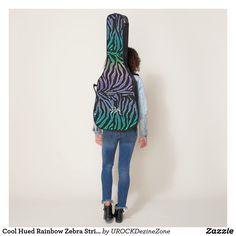 Cool Hued Rainbow Zebra Stripe Monogram #Guitar Case