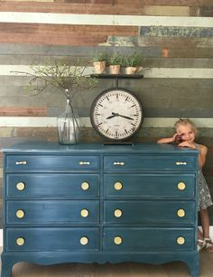 Beautiful color on dresser! It was painted by Annie Sloan Stockist MD HANEY & CO of McMinnville, OR with two coats of Aubusson Blue and then dry-brushed with Duck Egg Blue. Lastly, she applied two light coats of Clear Chalk Paint® Wax for a little extra sheen and great protection.