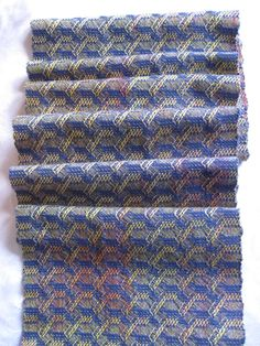 Handwoven scarf blue yellow red tencel designer by WoodlandWeavery, $125.00