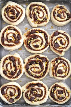 Citrus, cinnamon and chocolate come together in these fluffy homemade sweet rolls that will bring the sleepiest of heads out of their beds in the morning! Oh, ya know, just over here baking up some pillowy soft Easy Cookie Recipes, Sweet Recipes, Baking Recipes, Dessert Recipes, Breakfast Dessert, Breakfast Recipes, How Sweet Eats, Yummy Cakes, Chocolate Recipes