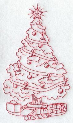 Machine Embroidery Designs at Embroidery Library! - A Christmas Elegance Redwork Design Pack - Lg Hand Embroidery Designs, Vintage Embroidery, Ribbon Embroidery, Cross Stitch Embroidery, Christmas Embroidery Patterns, Embroidery Sampler, Embroidery Ideas, Red Work Embroidery, Embroidery Fashion