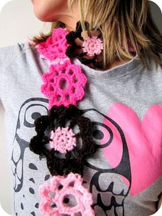 crocheted flower scarf by paisleyjade!