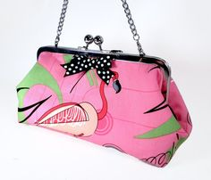 Rockabilly Pink Flamingo Kisslock Clutch Purse with by ExyArnette, $44.00