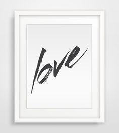 Love Brush Paint Poster Print Wall Prints Wall by PinkLemonArts