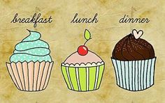 Cupcakes ~ breakfast, lunch dinner ~ that is correct Cupcake Art, Cupcake Cakes, Cup Cakes, Cupcake Drawing, Dessert Quotes, Cupcake Ideas, Mini Cakes, Love Cupcakes, Sprinkles