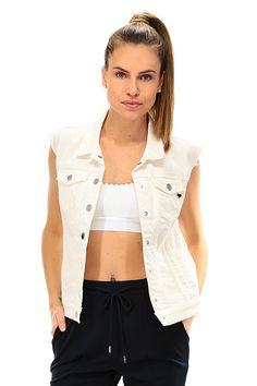 Twin Set Jeans - Giacche - Abbigliamento - Smanicato in jeans con lavorazione in pizzo sul retro. taschini applicati sul davanti. Abbottonatura con bottoni a pressione. - GARDENIA - € 148.00