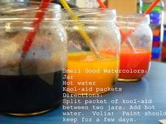 Learning about the 5 senses ~ Preschool style! Waterpaint with kool-aid (smell) and add salt to fingerpaint (touch). Preschool Body Theme, Five Senses Preschool, 5 Senses Activities, My Five Senses, Preschool Themes, Sensory Activities, April Preschool, Sensory Play, Toddler Activities