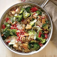 This family-friendly skillet meal is ready in just 20 minutes.   View Recipe: Chicken, Rice, and Parmesan Skillet