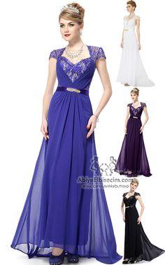 uzun  abiye elbise mavi