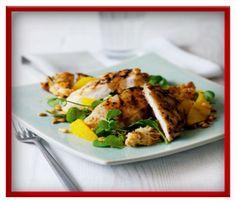 Watercress, chicken and orange salad   http://www.ibssanoplus.com/low_fodmap_watercress_chicken_orange_salad.html