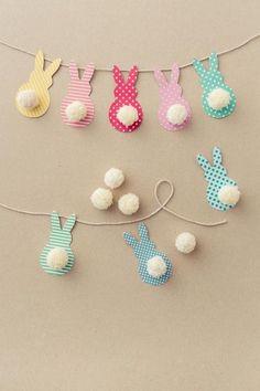faire une guirlande en papier, tutorial with photo for make une guirlande of Easter to design lapins Crafts For Kids To Make, Easter Crafts For Kids, Diy And Crafts, Paper Crafts, Kids Diy, Creative Crafts, Easter Garland, Easter Decor, Spring Crafts